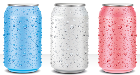 aluminium tin cans white, pink, light blue