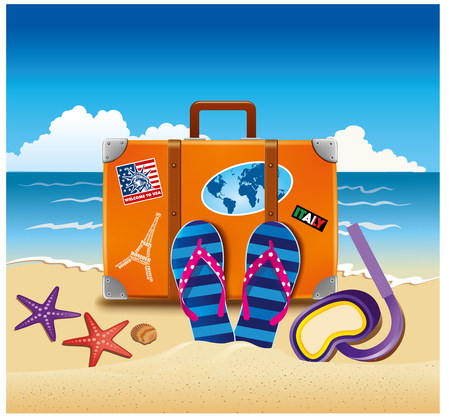 Holiday suitcase with sticker, flip-flops, at beach