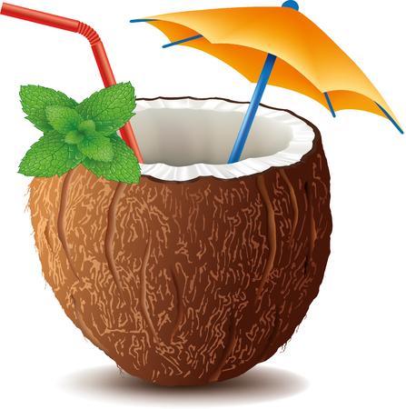ミントの葉とカクテル ココナッツの飲み物