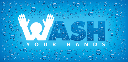 wash your hands-blue background with many water drops