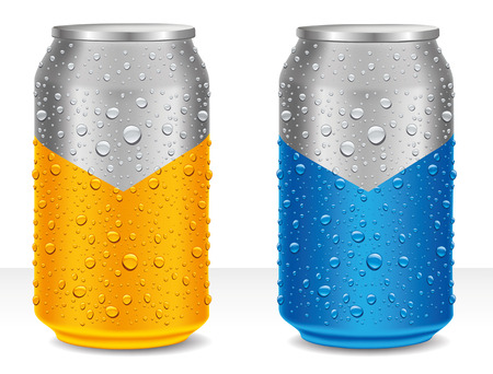 Aluminum Tin Cans in yellow and blue with many water drops Illustration