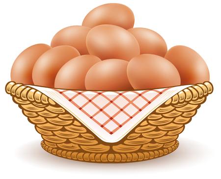 jajka w koszyku na białym tle