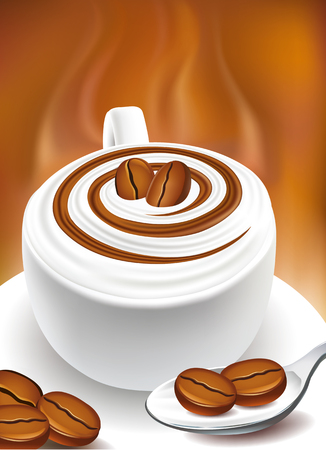 cappuccino cup with coffee beans Illustration