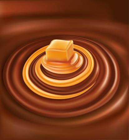 Hot chocolate background with caramel swirl Illustration