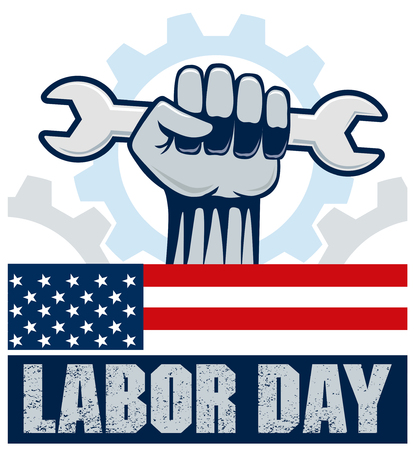 Labor Day with hand holding wrench design illustration.