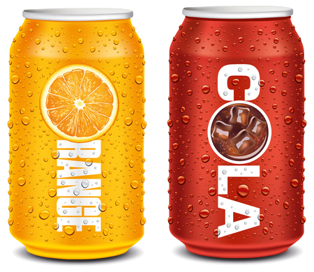 Orange and cola tin can with many water drops Illustration