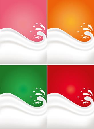 A milk splash o different color backgrounds Illustration