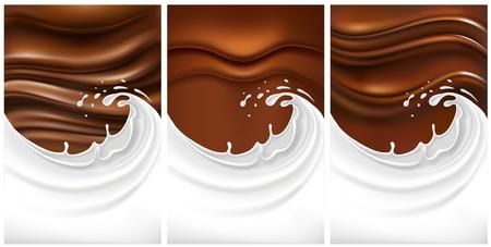 Mix of chocolate background with milk splash Illustration
