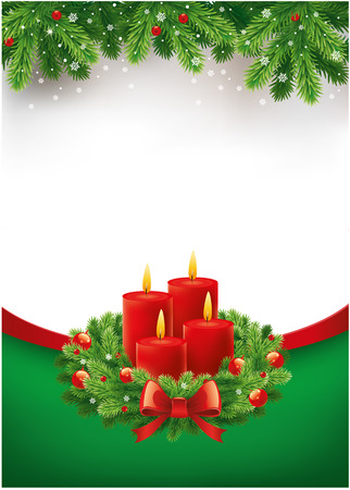 Christmas advent background with wreath and burning candles