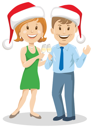Couple woman and man with Christmas hat and wine illustration.