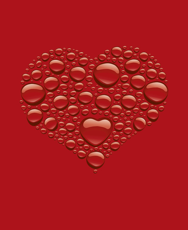 many red water drops creating heart love shape