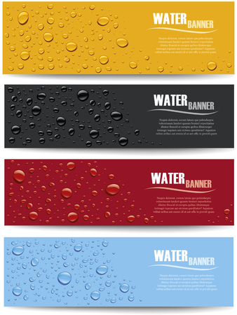many water drops on different color background with place for text Illustration