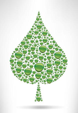 many green water drops creating leaf shape -environment symbol