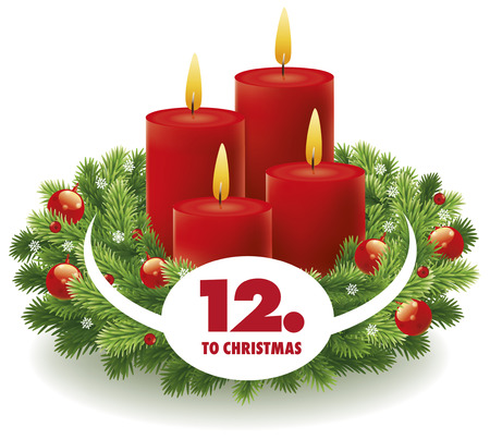 Christmas advent countdown  with wreath and burning candles