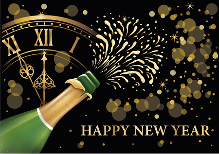 Champagne bottle popping explosion five minutes to Happy New Year Illustration