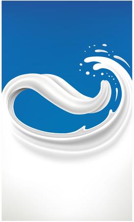 milk tongue splash on blue background