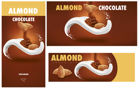 chocolate packaging with almonds Ilustracja