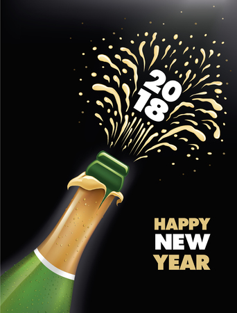 Champagne bottle popping explosion Happy New Year 2018