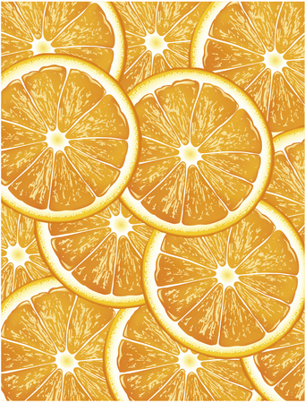 Orange slices vector background illustration.