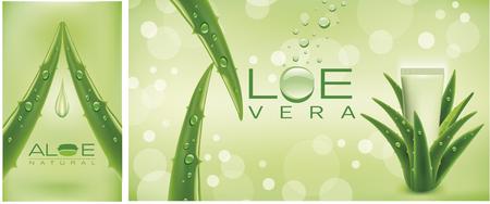 Aloe vera cosmetics background Illustration