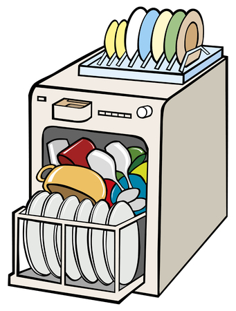 open dishwasher illustration.