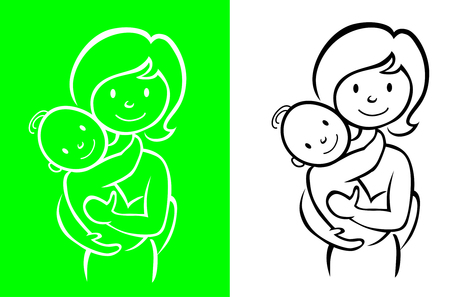 Mother and little baby sign Illustration