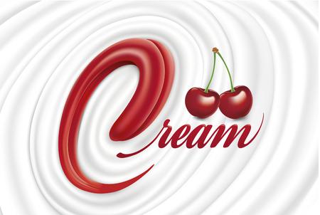 Milk yogurt cream swirl with tongue shape and fresh cherry Ilustracja