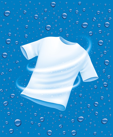 White shirt washing in water illustration on blue   background. Vettoriali
