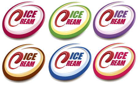 Set vector of ice cream label