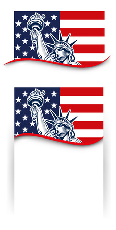 Statue of Liberty, NYC, USA symbol, USA flag,  fourth of july Independence day Ilustracja