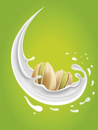 Milk splash with pistachio nuts Illustration