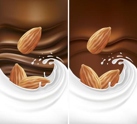 Chocolate background with milk splash and almond