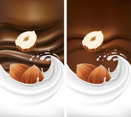 Set of chocolate packaging with milk splash and hazelnuts Ilustracja