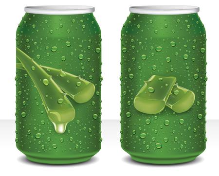 Aloe Vera Juice Healthy drink in can Ilustracja