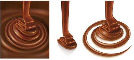 set of chocolate background swirl
