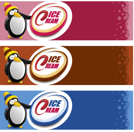 Ice cream package label with Penguin cartoon Vector illustration. Illustration