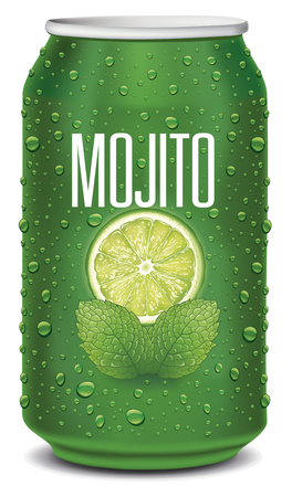 green tin can with mojito text, lime slice, mint leaves and many water drops