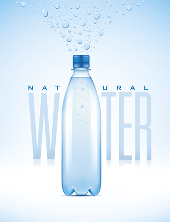 bottle with natural water on blue background with water drops