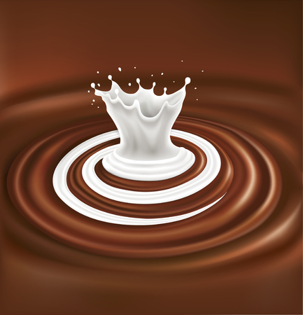 milk swirl splash on chocolate waves background