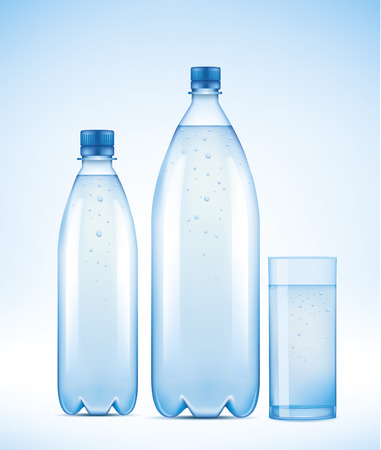 set of Water bottles and glass with water drops Ilustracja
