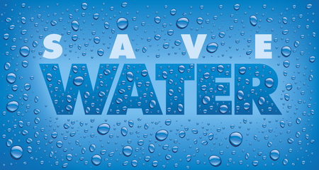 Save Water text on blue background with many water drops Ilustracja