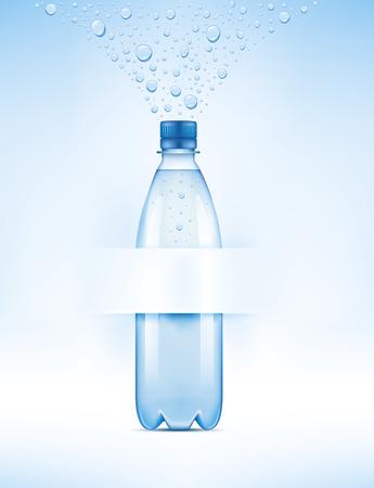 Waterfles met waterdruppels en plaats voor uw tekst