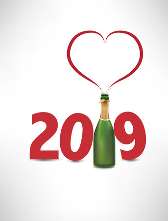 2019-happy new yeafr card with champagne bottle and heart symbol Ilustracja