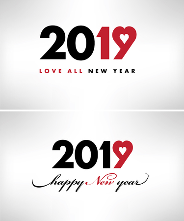 2019-happy new year card with symbol heart