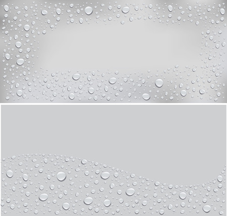 water drops on grey background and place for your text Ilustração