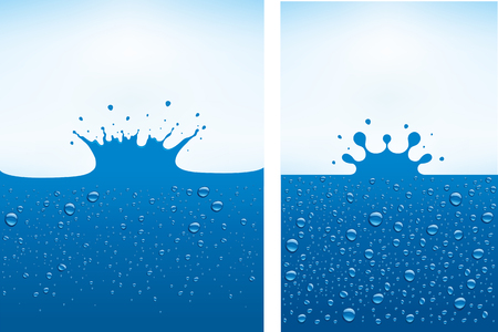 Blue water splash with many water drops Ilustracja