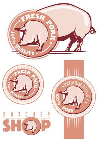 Fresh pork labels with pig illustration