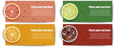 juice background with lime, grapefruit, orange slice Ilustracja