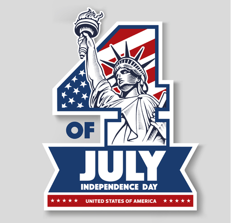 4 of July, day of independence, liberty statue, USA flag Ilustracja