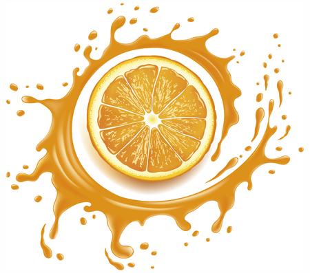 Orange juice splash with many drops Ilustracja